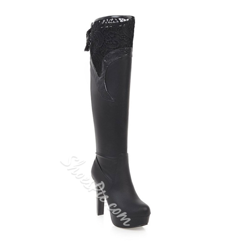 Shoespie Lace-Up Back Lace Platform Chunky Heel Knee High Boots