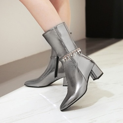 Shoespie Pointed Toe Chain Sequin Side Zipper Chunky Heel Ankle Boots