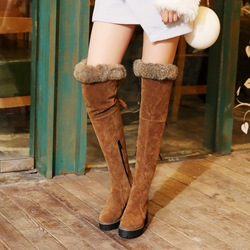 Shoespie Winter Platform Purfle Lace-Up Chunky Heel Knee High Boots
