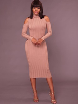 Shoespie Hollow Turtleneck Long Sleeve Bodycon Dresses