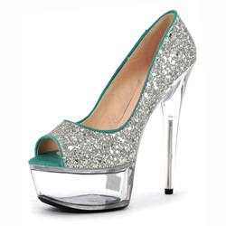 Shoespie Stiletto Heel Purfle Glitter Peep Toe Slip-On Platform Heels
