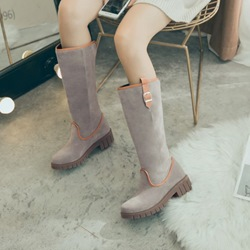 Color Block Chunky Heel Platform Knee High Boots