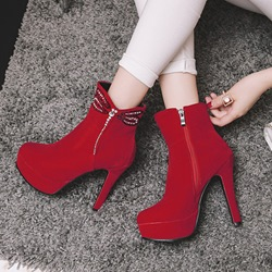 Shoespie Fall High Heel Rhinestone Ankle Boots