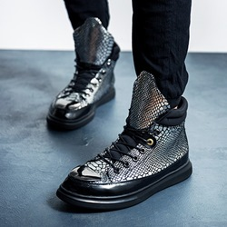 Shoespie Sequin Serpentine Lace-Up Sneakers
