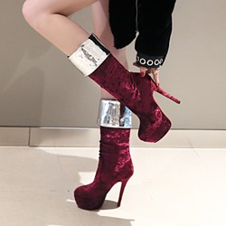 Platform Stiletto Heel Slip-On Knee High Boots