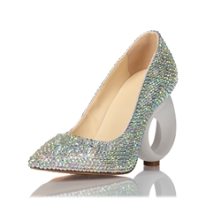 Shoespie Slip-On Rhinestone Pointed Toe Stiletto Heels