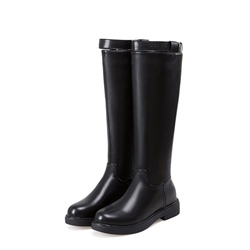 Black Fashion Block Heel Knee High Boots