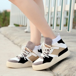 Shoespie Platform Lace-Up Color Block Hidden Elevator Heel Sneaker