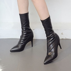 Sexy Slip-On Stiletto Heel Black Boots