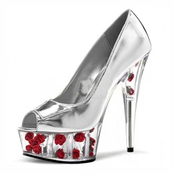 Shoespie Slip-On Stiletto Heel Floral Peep Toe Platform Heels