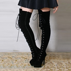 Shoespie Stiletto Heel Cross Strap Platform Knee High Boots