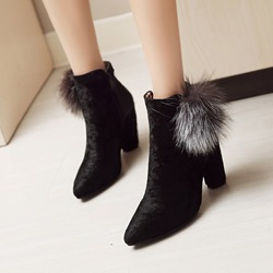 Shoespie Pointed Toe Pompon Side Zipper Chunky Heel Ankle Boots
