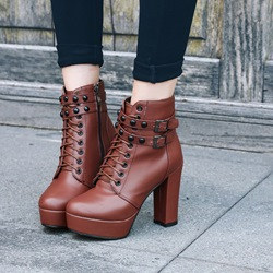 Shoespie Chunky Heel Cross Strap Rivet,Platform Buckle Ankle Boots