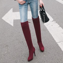 Shoespie Lace-Up Back Platform Stiletto Heel Knee High Boots