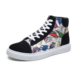 Shoespie Cartoon Print Lace-Up Round Toe Sneakers