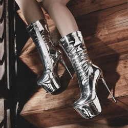 Shoespie Silvery Side Zipper Stiletto Heel Platform Ankle Boots