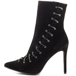 Shoespie Side Zipper Lace-Up Pointed Toe Side Zipper Ankle Boots