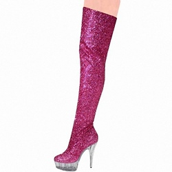 ShoespieGlitter Side Zipper Platform Knee High Boots