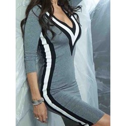 Shoespie V-Neck Color Block Three-Quarter Sleeve Bodycon Dresses