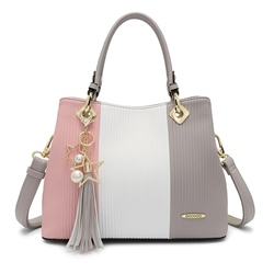 Shoespie Color Block Stripe Tassel Pendant Tote Bag