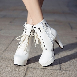 Shoespie Rivet Platform Chunky Heel Ankle Boots