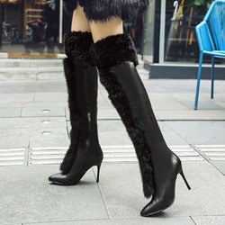 Fluffy Stiletto Heel Winer Knee High Boots
