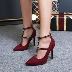 Shoespie Rivet Pointed Toe Zipper Stiletto Heels