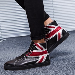 Shoespie Glitter Round Toe Lace-Up Sneakers