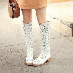 Hollow Platform Chunky Heel Knee High Boots