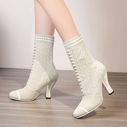 Shoespie Stripe Lace-up Slip-On Sock Ankle Boots