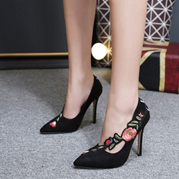 Embroidery Floral Stiletto Heels