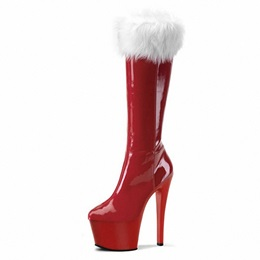 Shoespie Platform Purfle Side Zipper Knee High Boots