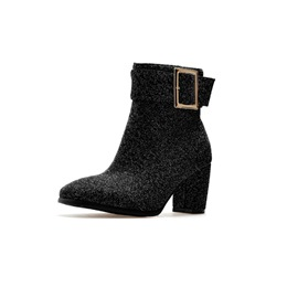 Shoespie Buckle Casual Side Zipper Chunky Heel Ankle Boots