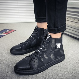 Shoespie Round Toe Letter Lace-Up Sneaker