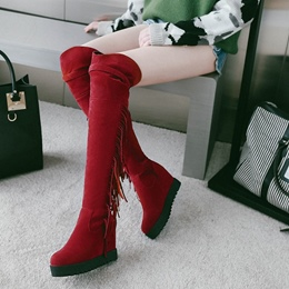 Shoespie Fringe Platform Buckle Hidden Elevator Heel Knee High Boots