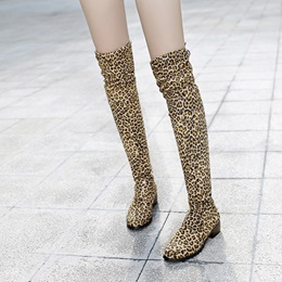 Shoespie Leopard Fall Knee High Boots