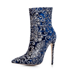 ShoespiePointed Toe Sequin Embroidery Stiletto Ankle Boots