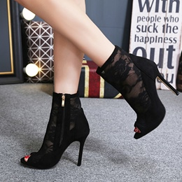 Shoespie Peep Toe Hollow See-Through Ankle Boots