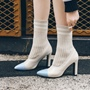ShoespiePointed Toe Slip-On Chunky Heel Ankle Boots