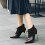 Shosepie Lace-Up Pointed Toe Color Block Back Zip Ankle Boots