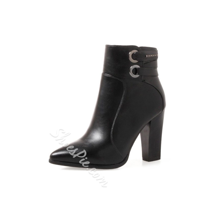 Shoespie Pointed Toe Sequin Side Zipper Chunky Heel Ankle Boots