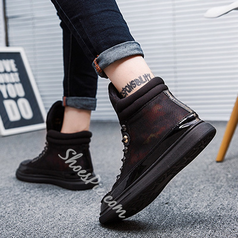 Shoespie Round Toe Lace-Up Casual Sneakers