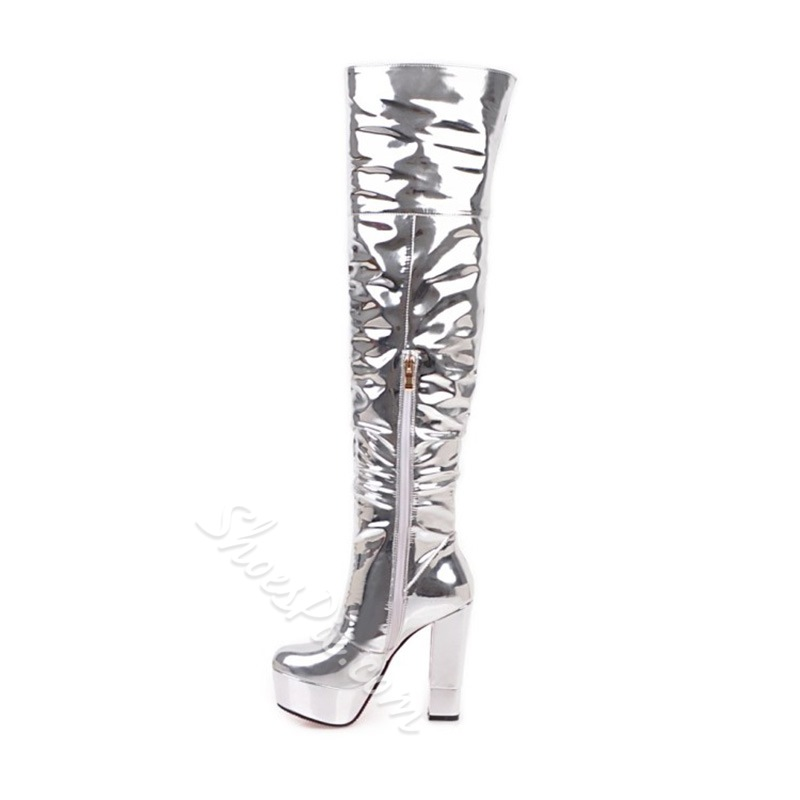 Shoespie Silvery Chunky High Heel Knee High Boots