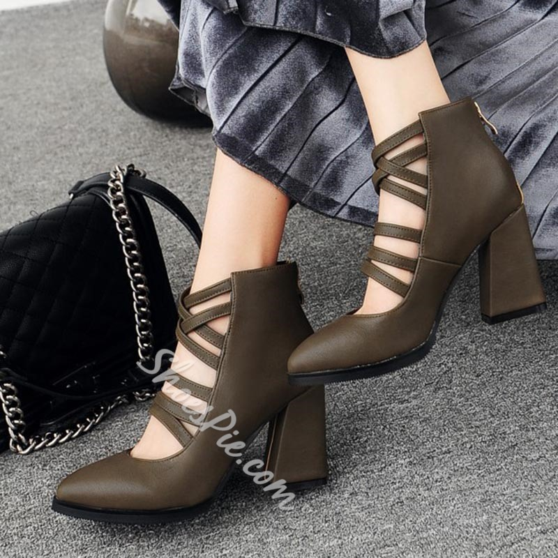 Shoespie Back Zip Hollow Chunky Heel Fashion Boots