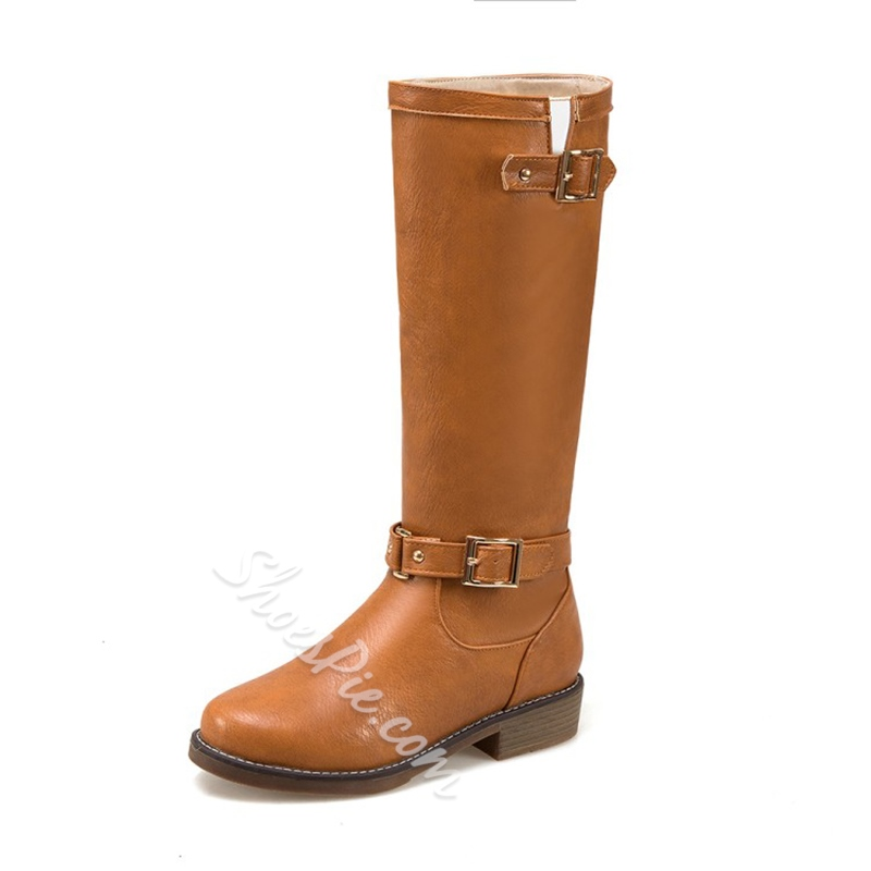 Shoespie Round Toe Buckle Slip-On Block Heel Knee High Boots