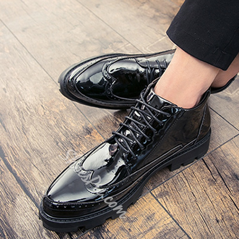 Shoespie Round Toe Lace-Up Front Sneakers