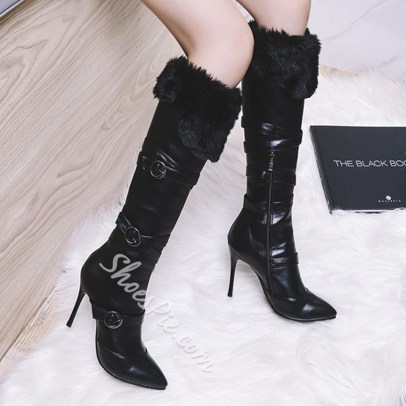 Shoespie High Stiletto Heel Winter Knee High Boots