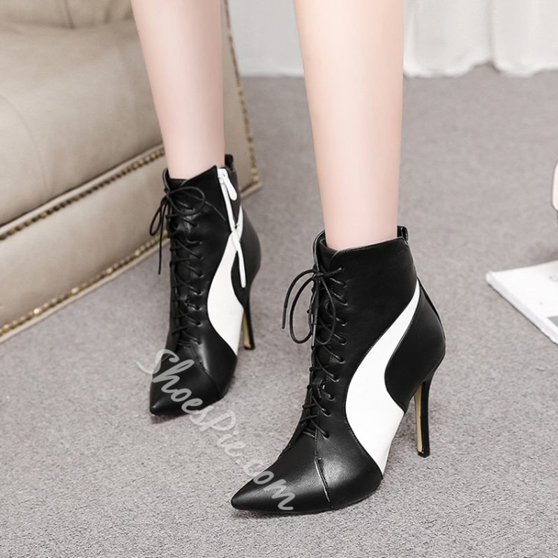 Shoespie Pointed Toe Side Zipper Strap Ankle Boots