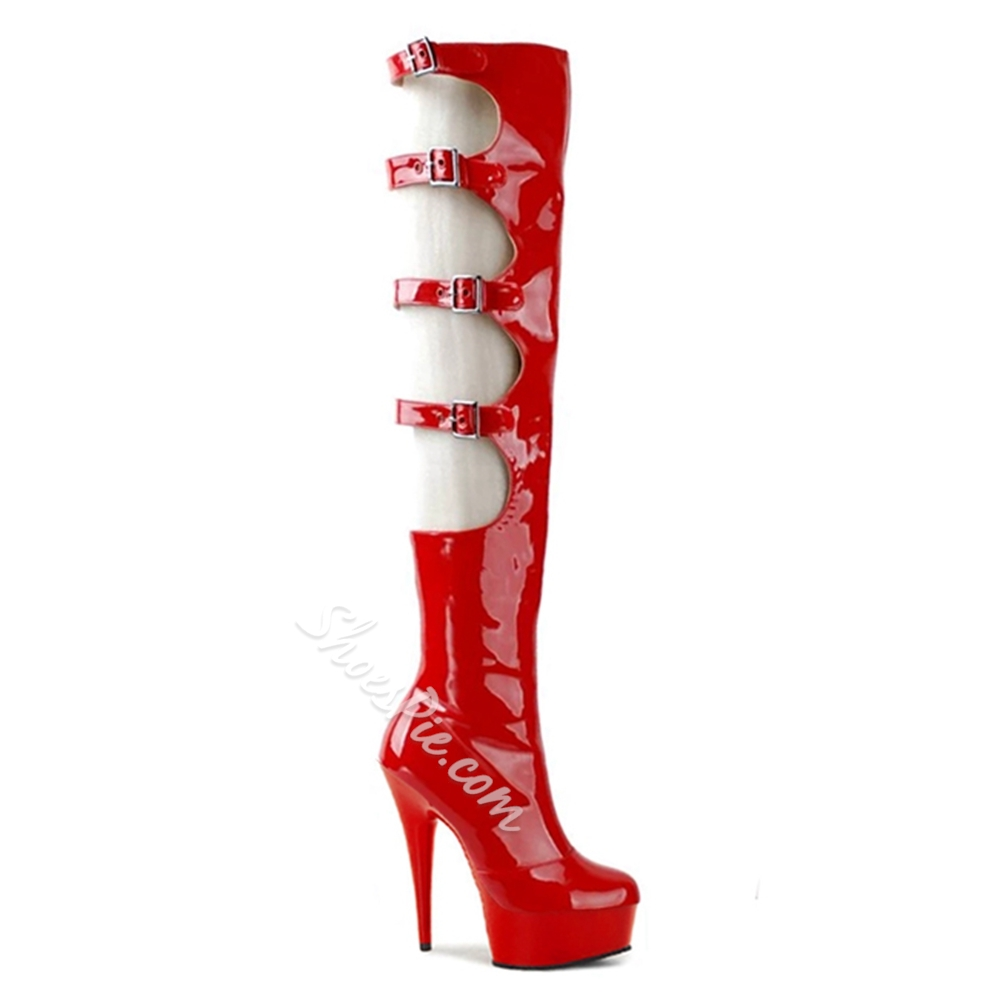 Shoespie Sexy Stiletto High Heel Hollow Knee High Boots