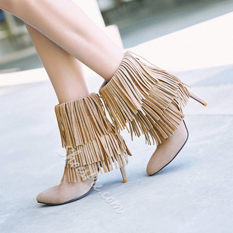Shoespie Fall Stiletto High Heel Fringe Ankle Boots